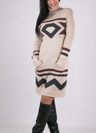 Теплое вязаное  платье 42-44-46р  универсальный.
