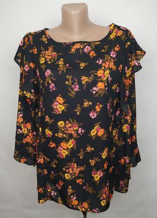 Блуза цветочная модная с рюшами большого размера george uk 24/52/5xl