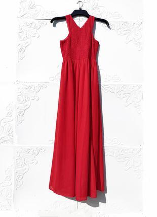 Красивое длинное красное алое платье с вышивкой vain glorious you