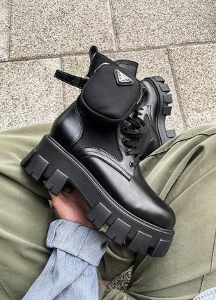 Ботинки prada leather boots nylon pouch женские