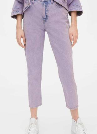 Gap сиреневые джинсы mom высокая посадка тренд сезона 2020-2021 w 29 и w 30
