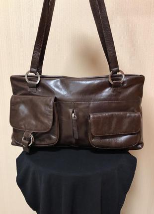 Кожаная женская сумка на плечо london, real leather.