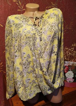Жёлтая блуза с цветочным принтом, длинными рукавами от george ❗уценка
