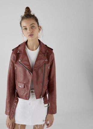 Bershka куртка косуха коричневая кожанка , куртка косуха