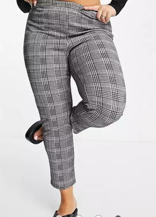 Бесподобные стрейчевые брюки леггинсы принт клетка высокая посадка батал yours