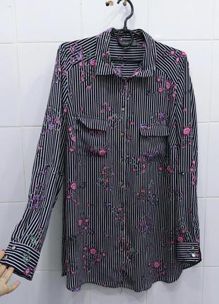 Стильная блуза в полоску в цветочный принт