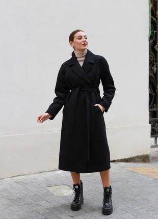 Чёрное пальто на запах оверсайз zara🖤