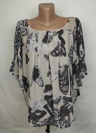 Блуза шифоновая красивая оригинальная в бабочки ted baker 4 uk 12-14