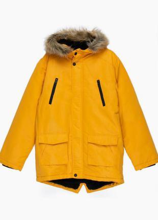 Крутая теплая парка primark 6-7 лет. 122 куртка курточка на меху тепла еврозима деми демисезонная классная модная стильная овчине роки зимняя
