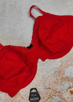 Бюстгальтер красный шикарный без поролона на большую грудь george 90g 90ж 40g 40ж