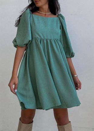 Платье микровельвет фисташка бебидолл пышные рукава новое качественное