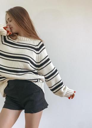Полосатый базовый свитер оверсайз от zara