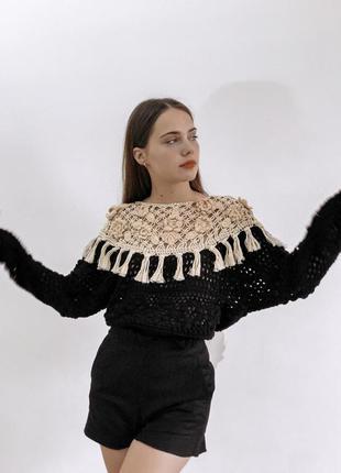 Винтажный свитер hand craft от zara