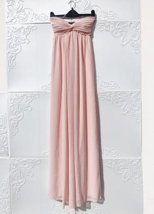 Светло розовое нежное длинное платье бюстье из мягкого фатина tally weijl