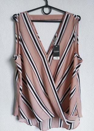 Пудровая блуза на запах в полоску