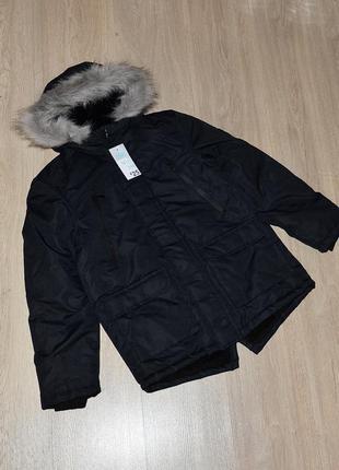 Крутая теплая парка primark 10-11 лет. 146 куртка курточка на меху тепла еврозима деми демисезонная классная модная стильная овчине зимняя