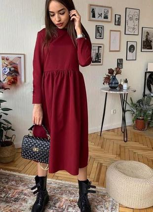 Ідеальна міді сукня. гарного бордового кольору