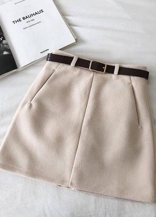 Бежевая юбка, юбка мини, шерстяная юбка
