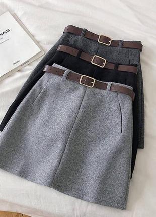 Серая юбка , шерстяная юбка