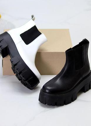 Кожаные ботинки челси белые и черные