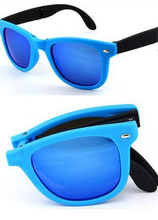 Распродажа солнцезащитные черно-голубые складные очки-вайфареры с синим зеркалом