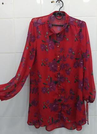 Яркая шикарная легкая блуза в цветочный принт