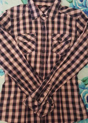 Рубашка с длинным рукавом, рубашка в клетку