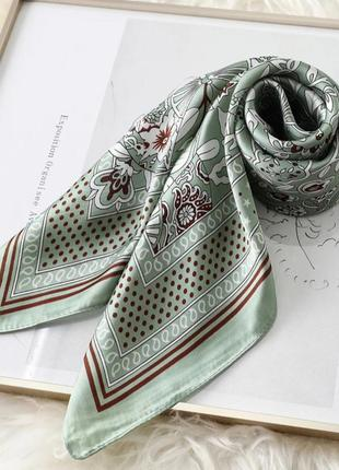 Шейный платок косынка фисташковый повязка твилли