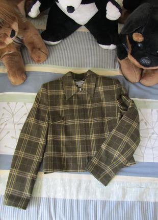 Женский пиджак жакет в актуальную клетку оливкового цвета