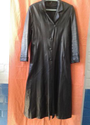 Женский кожаный удлинённый плащ пальто bamailong батал нюансы
