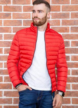 Демисезонная куртка стеганая яркая красного цвета-m-l