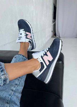 Женские кроссовки new balance 574 dark blue / pink
