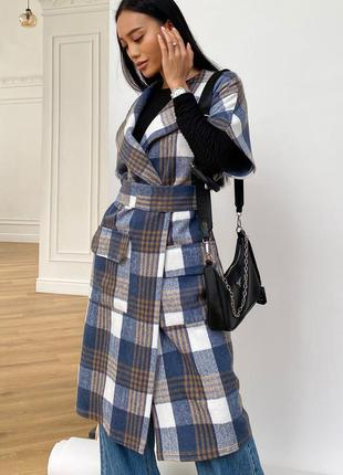 Стильное пальто без рукавов *50% шерсть* отличное качество