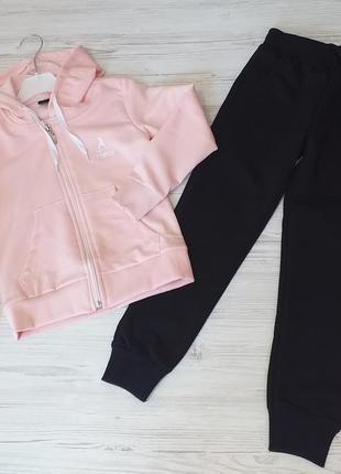 Повседневный спортивный костюм для девочек в нюдовых расцветках, сезон осень-весна, 5-12 л нежно-роз