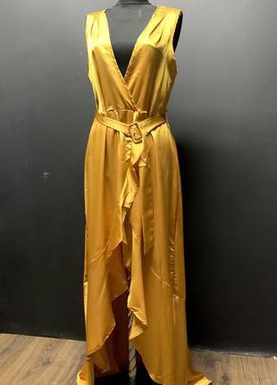 Платье шёлковое длинное горчичного цвета