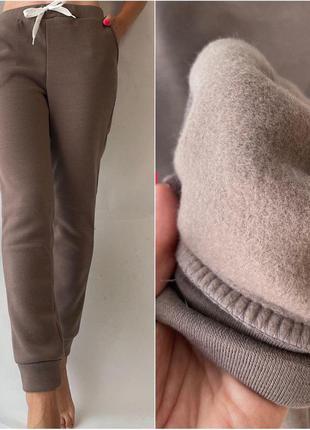 Женские штаны спортивные утепленные на флисе трикотаж agata015