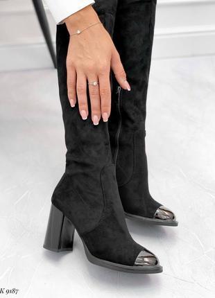 Шикарные ботфорты  черные на байке метал носок