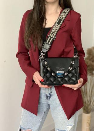 Классическая женская сумка на тканевом ремешке ,черная женская сумочка