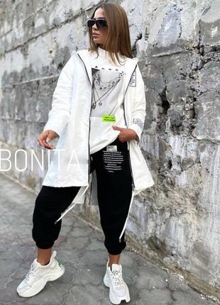 Женская куртка легкая ветровка утеплена силиконом черная белая per277