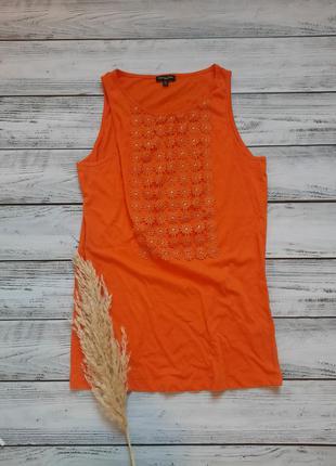 Морковная оранжевая яркая сайка топ с ромашками