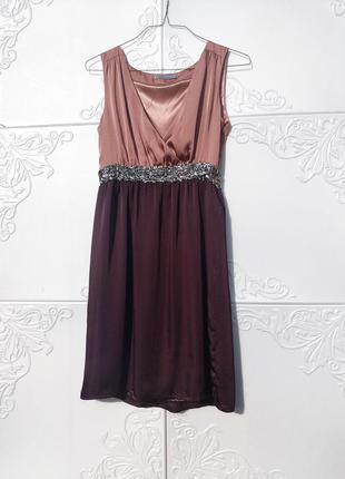 Комби платье розовое бордовое на запах с пайетками soaked in luxury