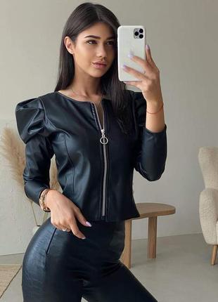 Кожаная куртка , кожаный бомбер , куртка 52 размера