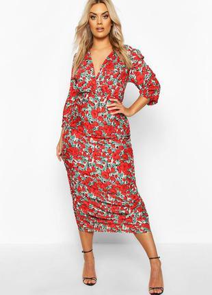 Легкое красное платье в пол платье длинное макси в цветочный принт батал большой размер большое платье