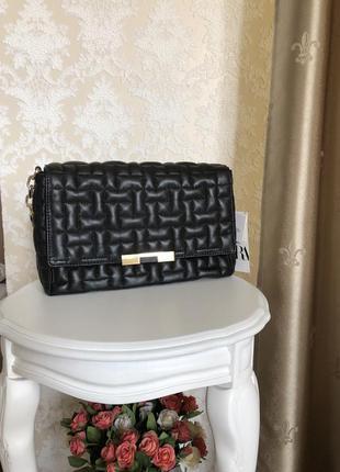 Шикарная стёганная сумка из кожи оригинал zara