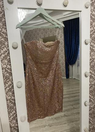 Вечернее коктейльное выпускное платье паетка boohoo