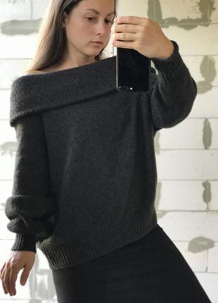 Шикарный базовый серый свитер эффектный
