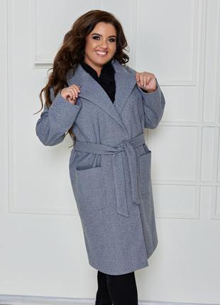 Базовое кашемировое пальто норма и батал до 62 размера