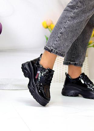 Дизайнерские черные лаковые глянцевые кожаные женские кроссовки натуральная кожа