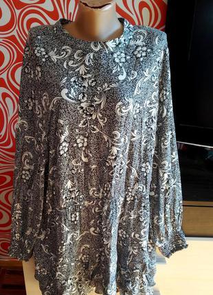 Нарядное батальное платье в цветы, вискоза,рюшы, стильное