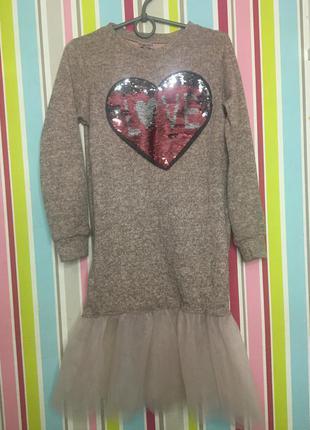 Тёплое нарядное платье пайетки